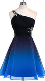 One Shoulder Black and Blue Gradient Color Homecoming Dress Short Custom Made Cute Cocktail Party Dress Fashion Short Chiffon Beadings School Dance Dresses Sweet 16th Dress HD122