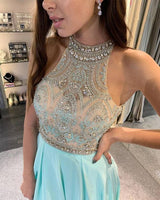 Sparkly Halter Beaded Side Slit Blue Prom Dress Custom Made Fashion Open Back Chiffon Long Evening Party Dresses PD354