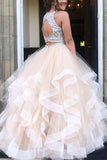 Beaded Two Pieces Tulle Princess Prom Dress Custom Made Long Quinceanera Dress Fashion School Dance Dresses Graduation Party Dress PD403