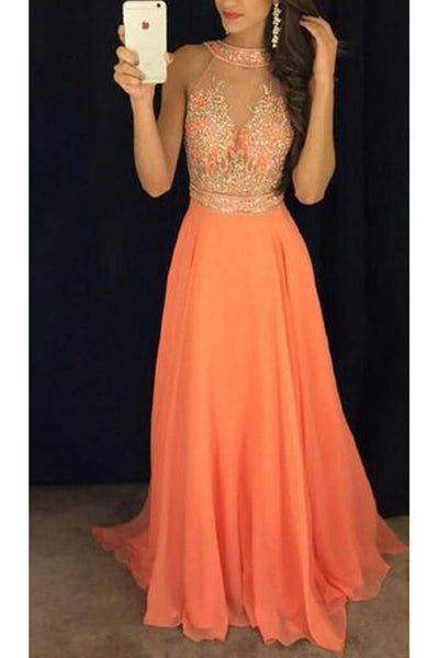 Custom Made Beaded Orange Long Prom Dress 2020 Fashion Beadings Chiffon Long Evening Dress PD183