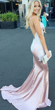 Mermaid Long Spaghetti Straps Backless Prom Dress Custom Made Pink Satin Evening Party Dress Fashion Appliques School Dance Dress Pageant Dress for Girls PD559