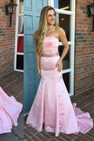 Strapless Pink Satin Prom Dress Mermaid Sweep Train Evening Dress PD011
