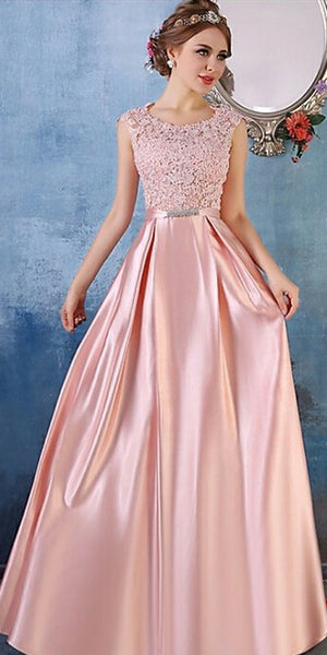 Elegant Pink Satin Lace Prom Gowns 2019 Custom Made A-Line Evening Party Dress Fashion Long V-Back Formal Dress Women's Pageant Dress PD606