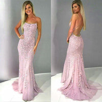 Spaghetti Straps Long Backless Prom Dress Custom Made Long Mermaid Appliques Evening Gowns Fashion Long School Dance Dress Fashion Formal Dresses PD840
