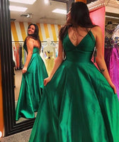 Spaghetti Straps Long Plus Size Prom Dress Custom Made Long Satin Evening Gowns Fashion Long Green School Dance Dresses PD697
