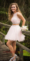 Discount Custom Made 2 Pieces Beaded Appliques Homecoming Dress Short A-Line Two Piece Graduation Party Dress HD039