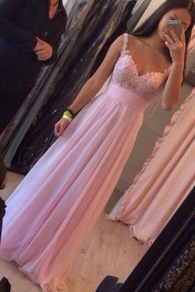 Sweetheart pink Chiffon Prom Dress with Appliques Custom Made Fashion A-Line Long Evening Dress PD213