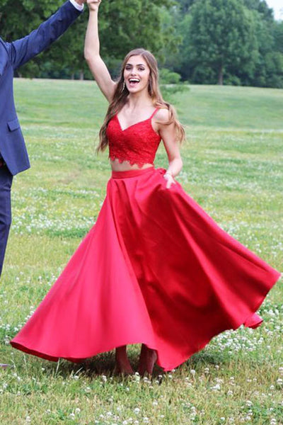 Sweetheart Red 2 Pieces Satin Lace Prom Dress Custom Made Long Graduation Party Dress Fashion Two Pieces School Dance Dresses Sweet 16th Dress PD430