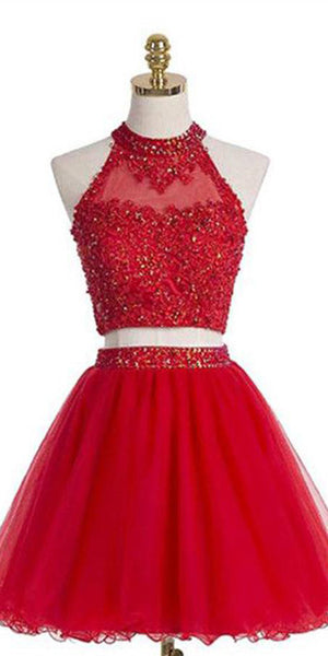 2 Pieces Short Beaded Appliques Homecoming Dress Custom Made Cute Cocktail Dress Fashion Short Open Back School Dance Dresses Short Women's Fashion Dresses HD197