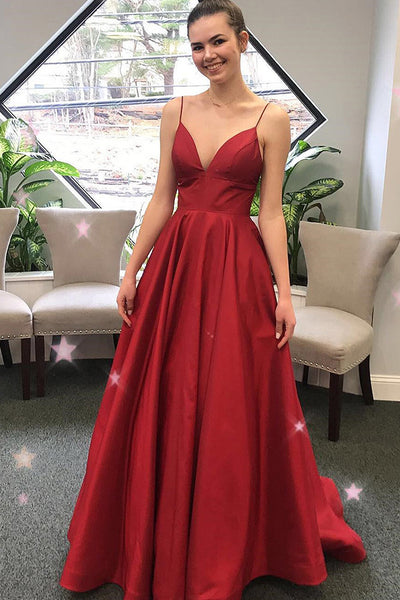 Spaghetti Straps V-Neck Red A-Line Prom Dress Custom Made Graduation Party Dress Fashion Long School Dance Dresses PD418