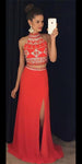 Sparkly Beaded Long 2 Pieces Prom Dress Custom Made Long Red Side Slit Evening Gowns Fashion Long School Dance Dress Women's Pagent Dresses PD938