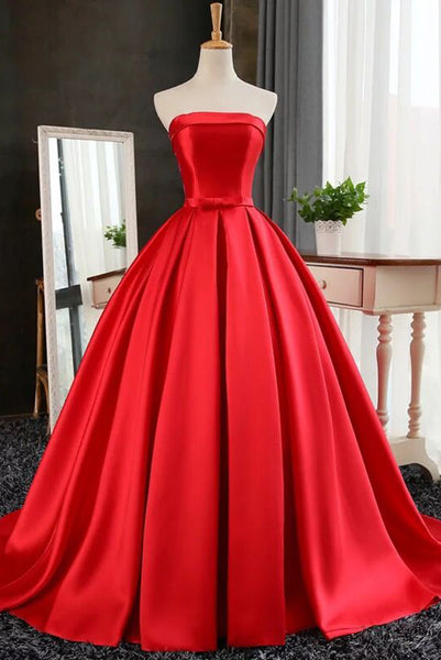 Fashion Strapless Red Satin Prom Dress Custom Made Long Evening Ball Gowns Wedding Gowns PD264