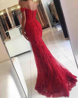 Sweetheart Red Mermaid Appliques Prom Dress with Off Shoulder Straps Custom Made Fashion Long Beaded Evening Gowns PD345