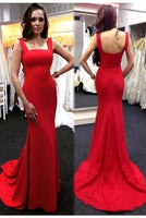 Sexy Mermaid Red Satin Prom Dress with Appliques Train Custom Made Fashion Long Evening Gowns PD232