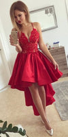 Red Satin Lace High Low Homecoming Dress Custom Made Spaghetti Straps Graduation Party Dress Fashion Sweet 16th Dress Short School Dance Dress HD066