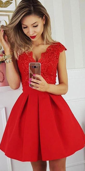 Red V-Neck Short Prom Dress with Appliques Custom Made Short Homecoming Dress Cute Cocktail Dresses Fashion School Dance Dress PDS025