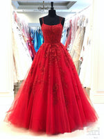 2020 Red Beaded Tulle Appliques Prom Dress Fashion Long Spaghetti Straps Evening Gowns Custom Made Long School Dance Dress Women's Pagent Dresses PD971