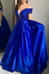 Cuatom Made Sexy Off Shoulder Beaded Prom Dress Fashion Sweetheart Royal Satin Long Graduation Party Dress PD194