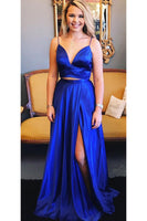 Sexy 2 Pieces Royal Blue Spaghetti Straps Prom Dress Custom Made Long Graduation Party Dress Fashion Sexy School Dance Dresses PD415