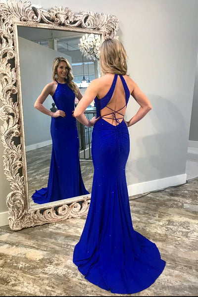 Halter Beaded Royal Blue Mermaid Backless Prom Dress Custom Made Fashion Long Sweep Train Evening Gowns PD382