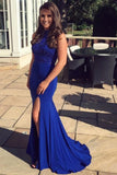 Elegant Beaded Royal Blue Satin Prom Dress Custom Made Fashion Long Side Slit Beading Evening Gowns PD332