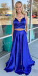 Simple Sexy Long 2 Pieces Prom Dress Custom Made Long Royal Blue Evening Dress Fashion Long School Dance Dress Women's Formal Dresses PD865