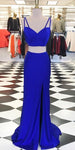 Royal Blue Long 2 Pieces Prom Dress Custom Made Long Mermaid Evening Gowns Fashion Long School Dance Dress Women's Pagent Dresses PD927