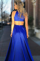 Sexy Royal Blue High Side Slit O-Neck Prom Dress Custom Made Long Evening Party Dress Fashion Long School Dance Dresses PD419