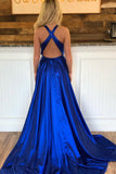 Sexy Deep V-Neck Royal Blue Prom Dress Dress 2019 Custom Made Satin Side Slit Evening Party Dress Fashion Long Cross Back School Dance Dress Pageant Dress for Girls PD644