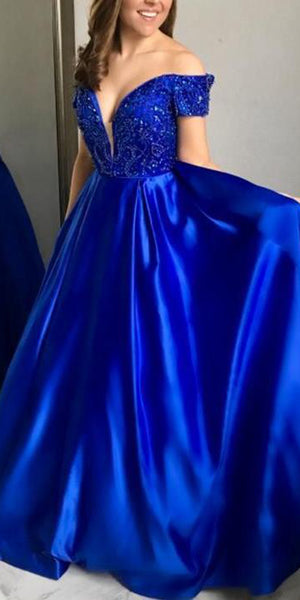 Sparkly Beaded Long Royal Blue Prom Dress Custom Made Long Off SHoulder Evening Gowns Fashion Long School Dance Dress Women's Pagent Dresses PD928