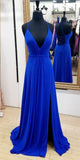 V-Neck Long Royal Blue Prom Dress Custom Made Long Side Slit Evening Dress Fashion Long Spaghetti Straps School Dance Dress Women's Formal Dresses PD868