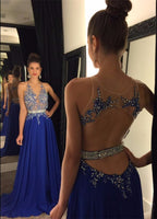 Royal Blue Beaded Chiffon Prom Dress Custom Made Open Back Long Evening Gowns with Beades PD254