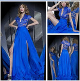 Sexy Deep V-Neck Side Slit Satin Long Prom Dress Custom Made Lace Royal Blue Evening Gowns PD228