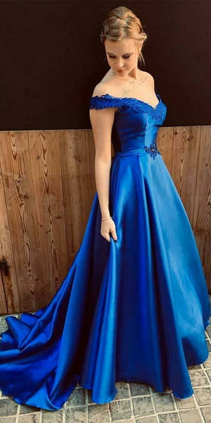 Off Shoulder Royal Blue Prom Dress 2019 Custom Made Satin Long Evening Party Dress Fashion Long School Dance Dress Girls Pageant Dress PD562