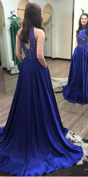 Sparkly High Neck Beaded Royal Blue Prom Dress 2019 Custom Made Open Back Evening Party Dress Fashion Long Beadings School Dance Dress PD526