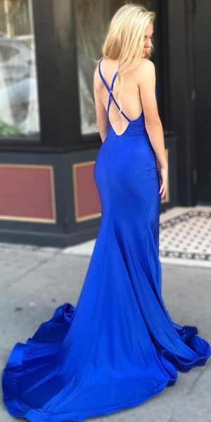 Spaghetti Straps Long Mermaid Prom Dress Custom Made Long Royal Blue Evening Gowns Fashion Long School Dance Dress Women's Pagent Dresses PD939