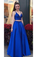 Sweetheart Royal Blue 2 Pieces Satin Prom Dress Custom Made Fashion Long A-Line Evening Party Gowns PD363