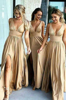 Custom Made Simple V-Neck Long Bridesmaid Dress Fashion Side Slit Satin Wedding Party Dress BD026