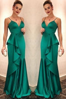 Elegant Sweetheart Mermaid Satin Prom Dress Custom Made Fashion Dark Green Long Evening Gowns PD223