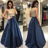O-Neck Beaded Navy Prom Dress 2019 Custom Made Satin Beadings Evening Party Dress Fashion Long School Dance Dress PD529