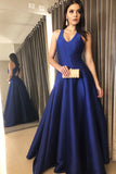V-Neck Satin Royal Blue A-Line Prom Dress Custom Made Long Evening Gowns Fashion Cross Back Graduation Party Dresses PD433