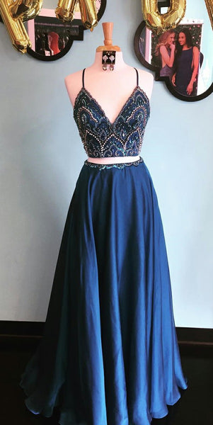 Navy Blue Beaded 2 pieces Prom Dress 2019 Custom Made Spaghetti Straps Graduation Party Dress Fashion Long School Dance Dress Girls Pageant Dress PD563