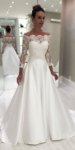 Sexy Off Shoulder Long Bridal Gowns with Long Sleeves Custom Made Fashion Long Satin Lace Wedding Dresses WD013