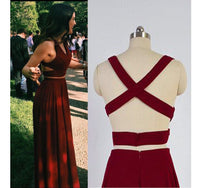 Simple Sexy 2 Pieces Burgundy Prom Dress 2019 Custom Made Two Pieces Party Dress Fashion Long School Dance Dress PD473