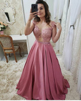Sexy Satin Appliques Prom Dress with Beaded Waist Custom Made See Through Bodice Evening  Party Dress Fashion Long Beadings School Dance Dress PD542