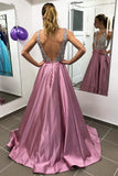 Sparkly Beaded V-Neck A-Line Satin Prom Dress Custom Made Long Evening Party Dress Fashion Beadings School Dance Dresses PD428