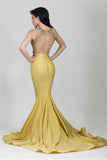 Sexy Open Back Mermaid Prom Dress with Appliques Custom Made Fashion Satin Long Evening Dresses PD288