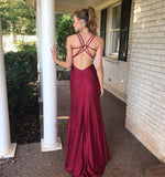 Simple Long Spaghetti Straps Prom Dress Custom Made Long Side Slit Evening Gowns Fashion Long School Dance Dress Women's Pagent Dresses PD929