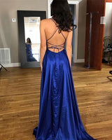 Simple Sexy Royal Blue Spaghetti Straps Prom Dress Custom Made Long Backless Side Slit Evening Party Gowns PD324