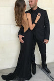 Sexy Mermaid Black Spaghetti Strap Backless Prom Dress Custom Made Fashion Long Sweep Train Evening Gowns PD386